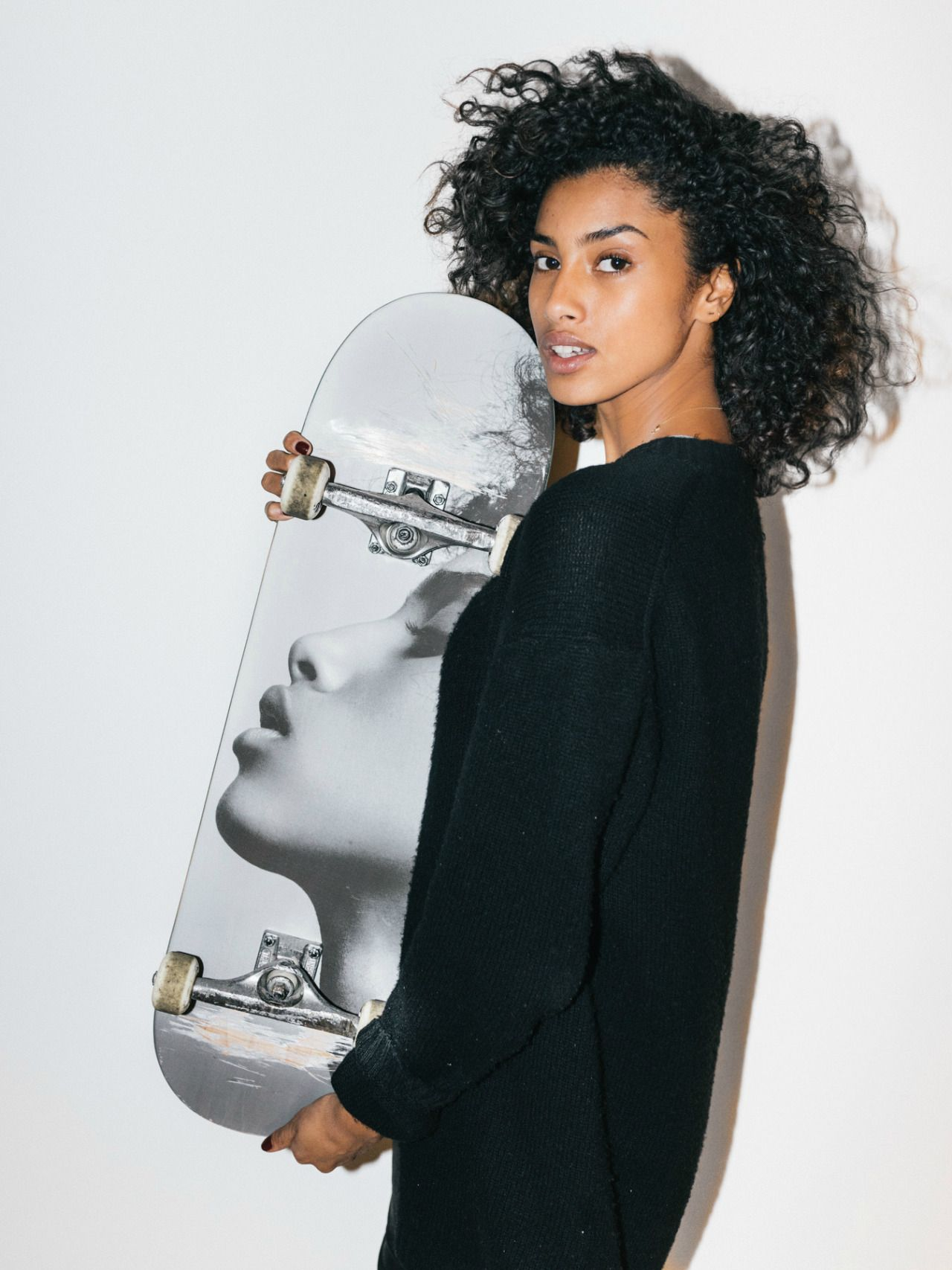 Supermodel Imaan Hammam's Face Graces a Limited Edition Skate Deck You might even think twice before boardsliding.