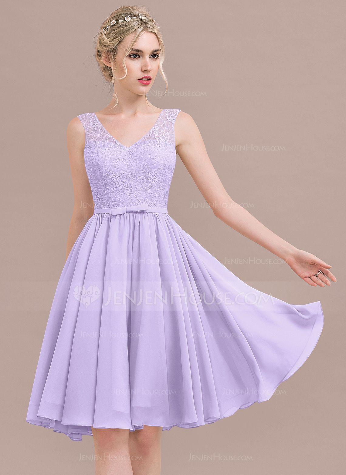 A-Line/Princess V-neck Knee-Length Chiffon Lace Bridesmaid Dress ...