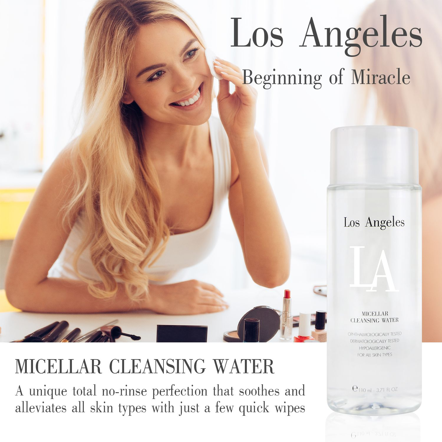 LA Los Angeles Micellar Cleansing Water is an efficient
