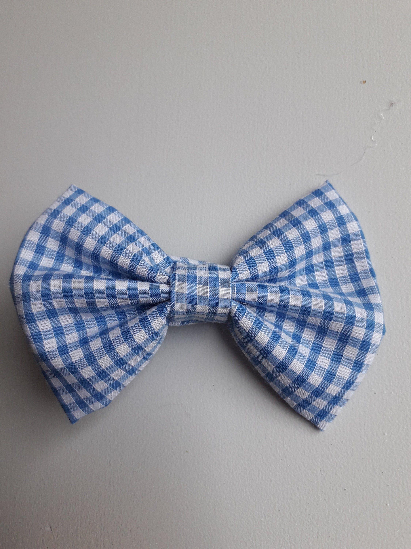 Blue gingham school Bow