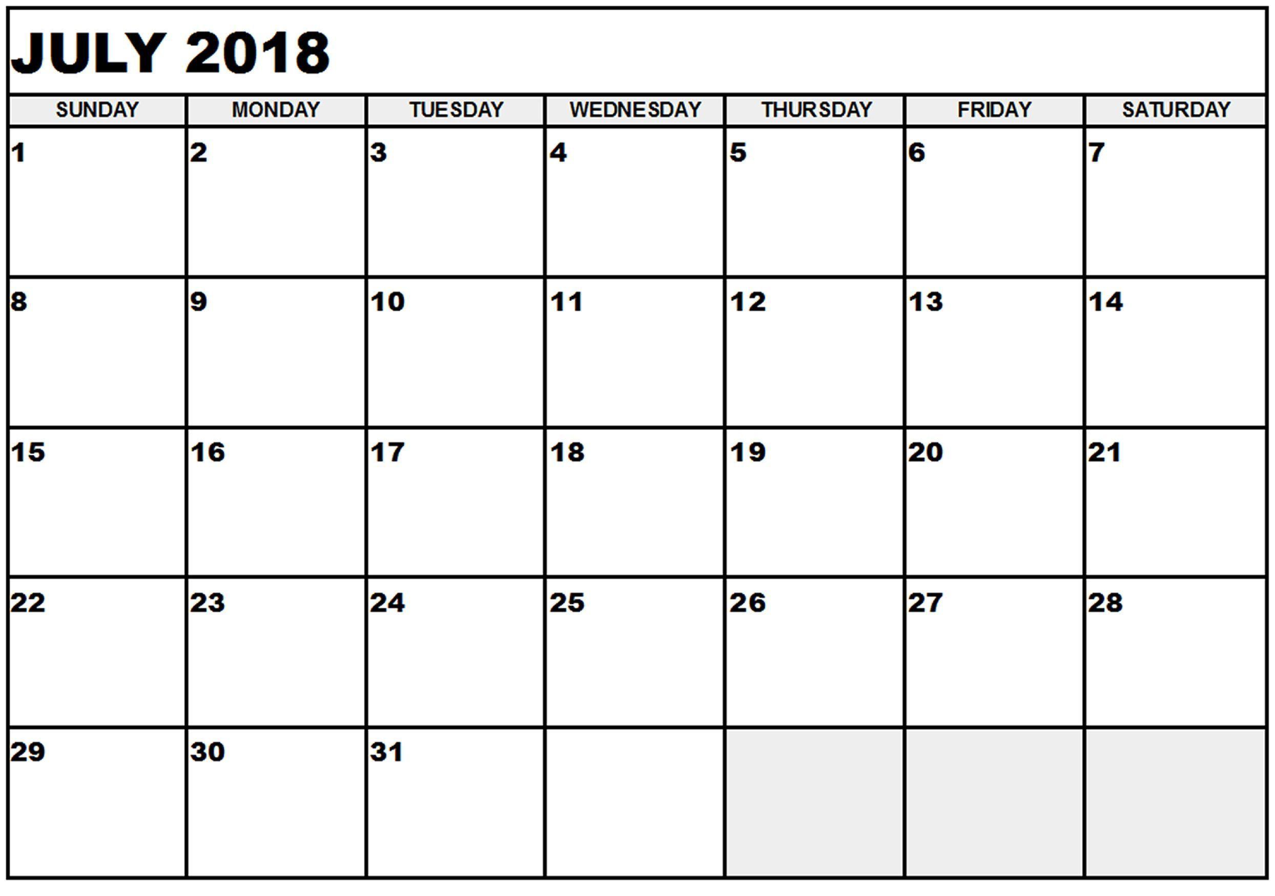 July 2018 Hd Calendar July 2018 Calendar Pdf Word Excel