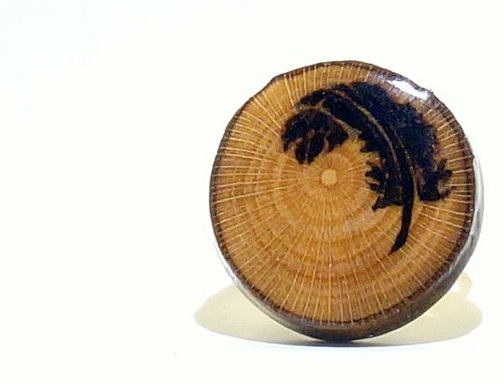 Feather Wood Burned Ring Original Handmade Sycamore by LadyDryad, $14.30