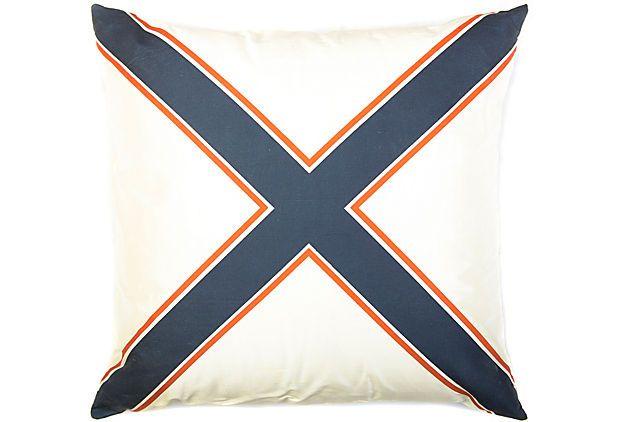 """X"" 18x18 Silk Pillow, Navy/Orange on OneKingsLane.com"