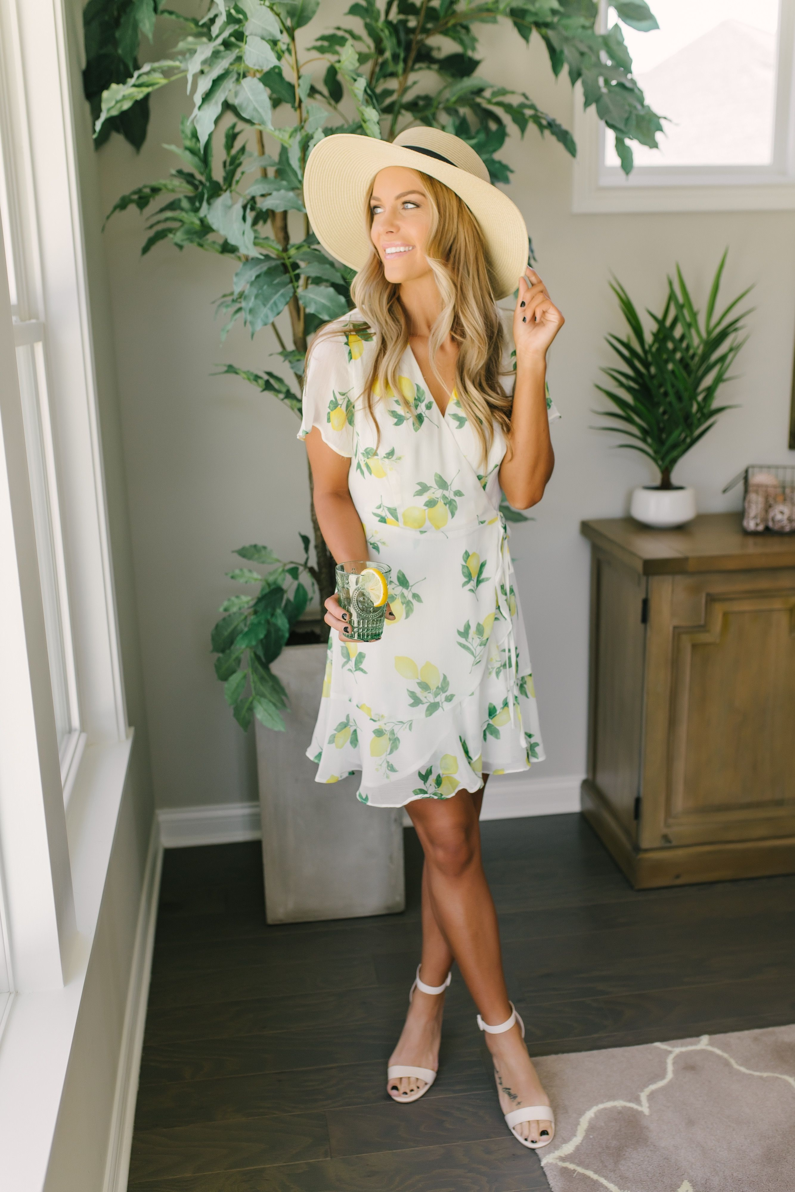 Shop Our Short Sleeve Lemon Wrap Dress In Off White Multi Pair With High Heels And A Clutch For A Chic Look Always Free Wrap Dress Print Chiffon Dress Dresses [ 4000 x 2667 Pixel ]