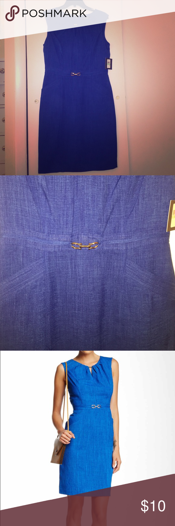 Hardware Detail Cap Sleeve Dress Great Dress with lots of details. NEW WITH TAGS. Pockets! Ellen Tracy Dresses