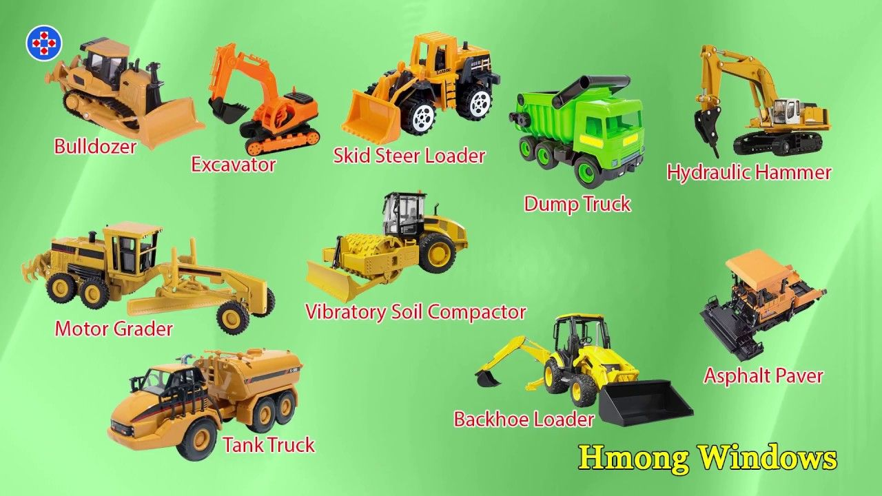 Learn Construction Vehicles For Kids Children And Heavy Equipment Backhoe Loader Backhoe Excavator