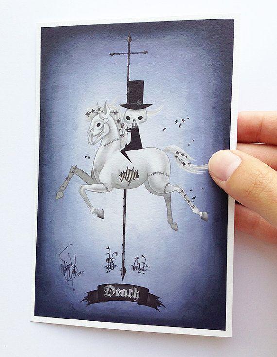 death - 4x6 fine art print - illustration of the four horsemen of ...