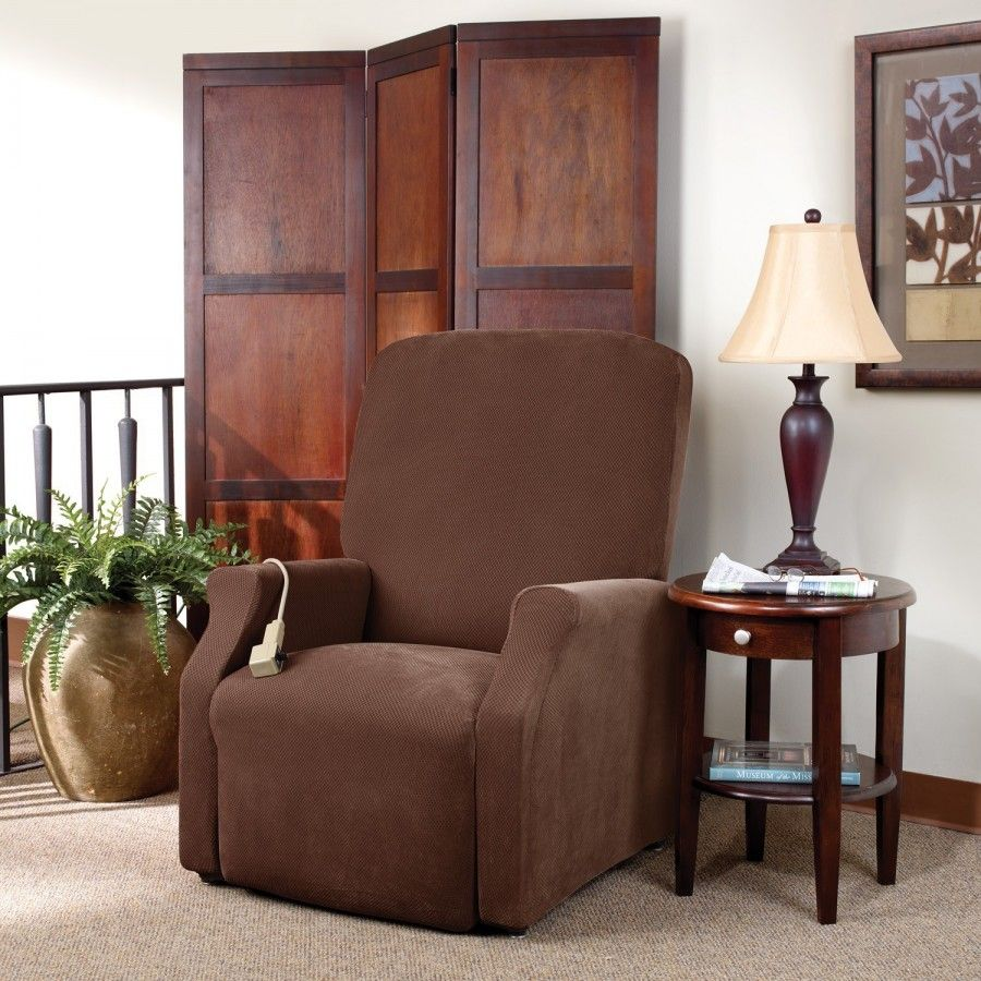 Sure Fit Stretch Pique Large Recliner Slipcover In Chocolate 149224455za Lift Recliners Sure Fit Slipcovers