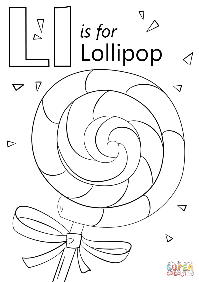 Letter L Is For Lollipop Coloring Page Free Printable Coloring Pages Letter L Crafts Preschool Coloring Pages Kindergarten Coloring Pages