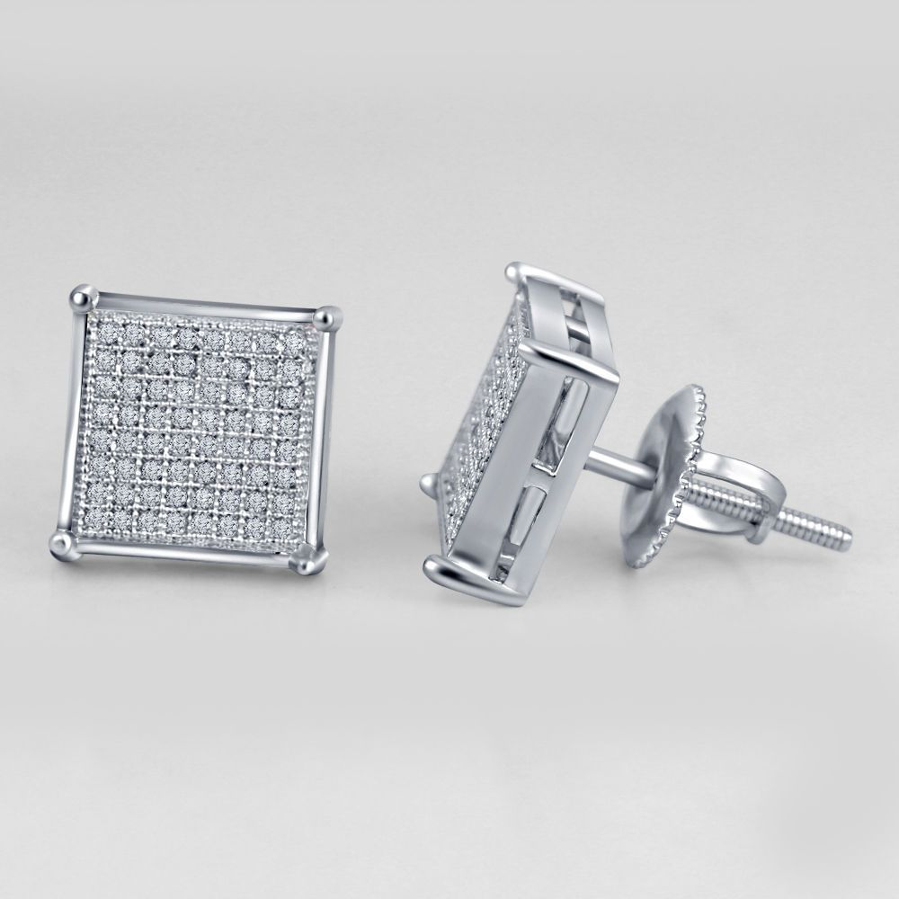 Lady 51 Ct Real Diamond 14k White Gold Plated Square Stud  Earrings