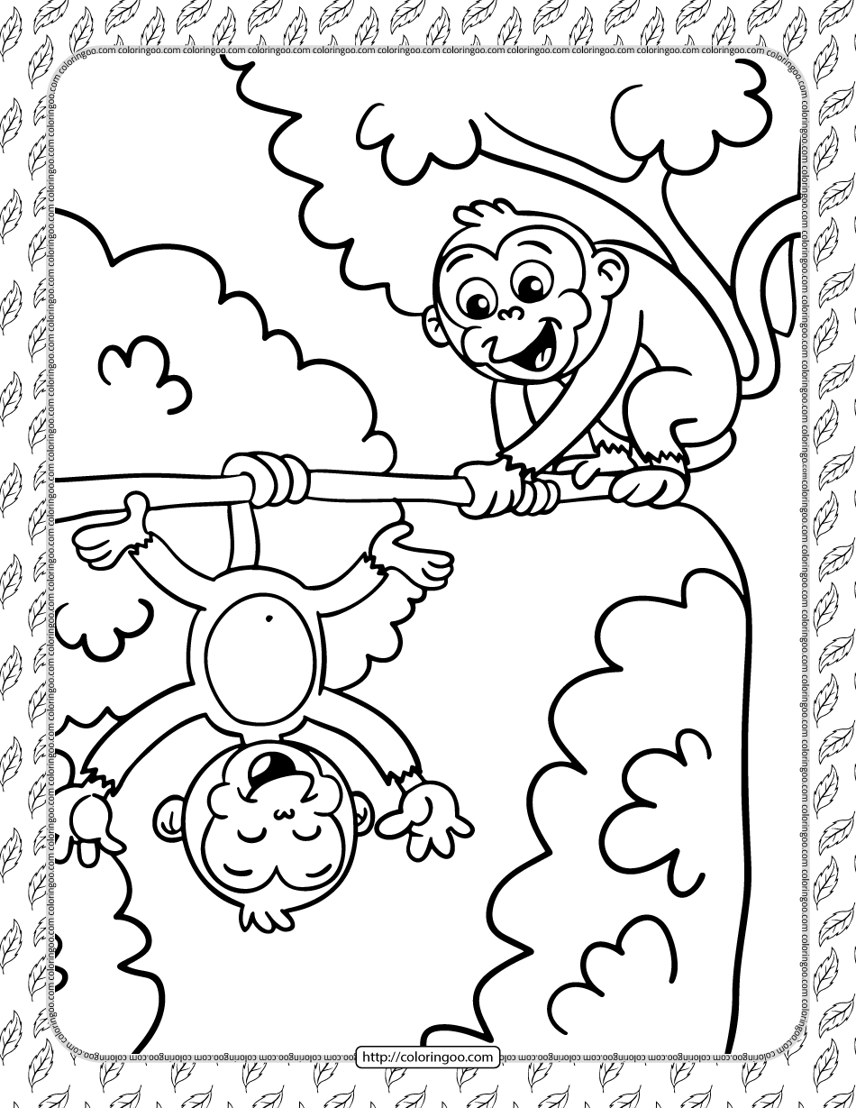 Printable Silly Monkeys Coloring Page Monkey Coloring Pages Coloring Pages Animal Coloring Pages