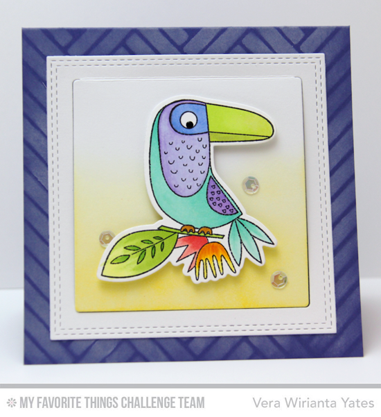 Colorful Bird Card by Vera Wirianta Yates featuring the Birds of Paradise stamp set and Herringbone Bricks stencil #mftstamps