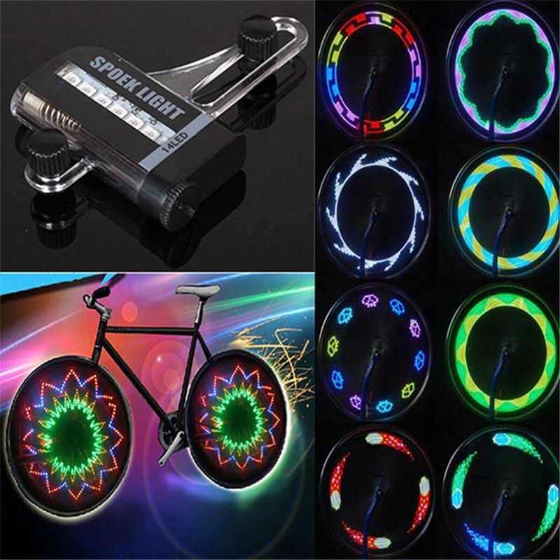 Colorful 32 Pattern LED Bicycle Wheel Tire Spoke Signal Light For Bike Safety US