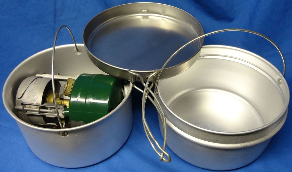 M1950 stove inside mountain cookset | camping, backpacking