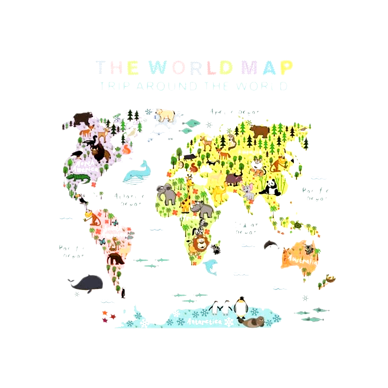Children Educational Animal World Map Wall Stickers Removable Art Murals Wall Decals for Kids Bedroom Living Room