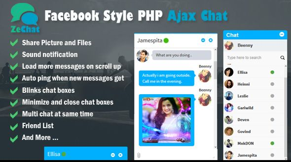 Facebook Style Php Ajax Chat - Zechat . Username : Beenny / 1234 ...
