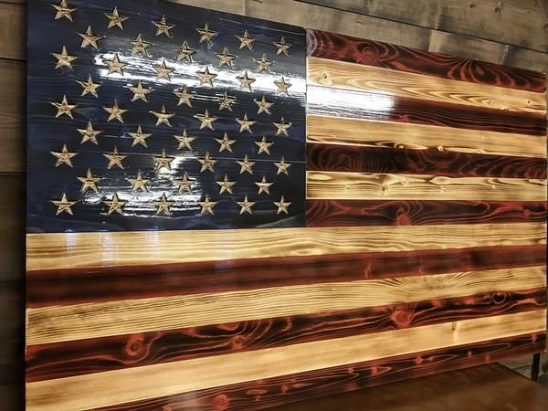 Hand Carved Charred American Traditional Rustic American Flag American Flag Wood Rustic Flags
