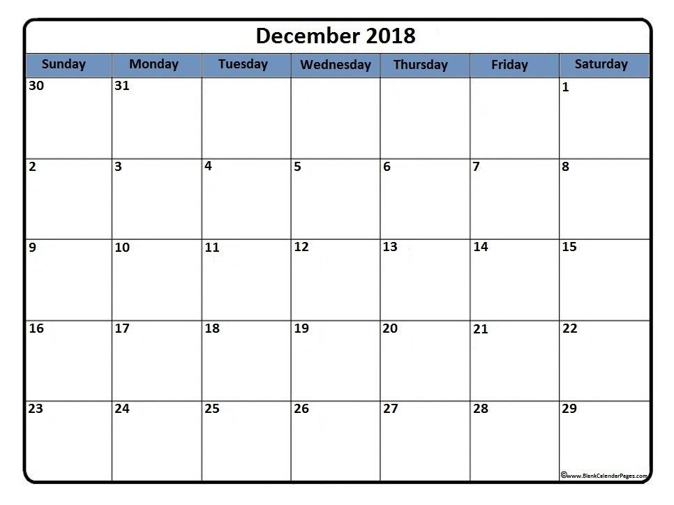 December 2018 Calendar Blank Template December 2018 Calendar