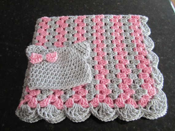 Photo of baby girl blanket set, crochet granny stripe, crochet blanket, kitty hat, crocheted blanket, girl gift set, pink and gray READY TO SHIP