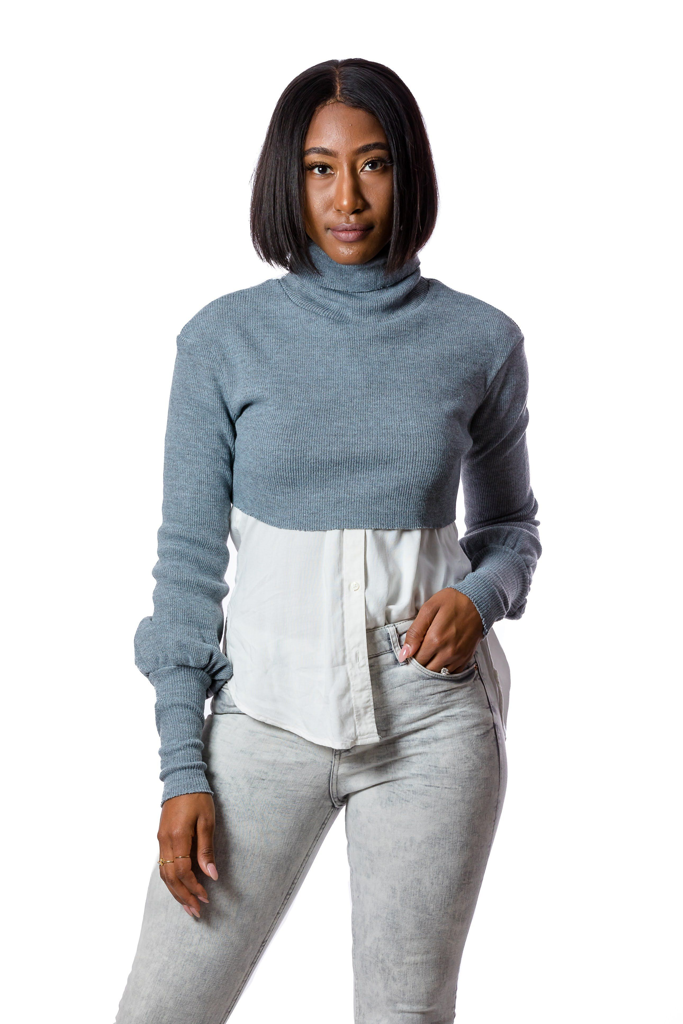 Sweater Cropped Top - S / Gray