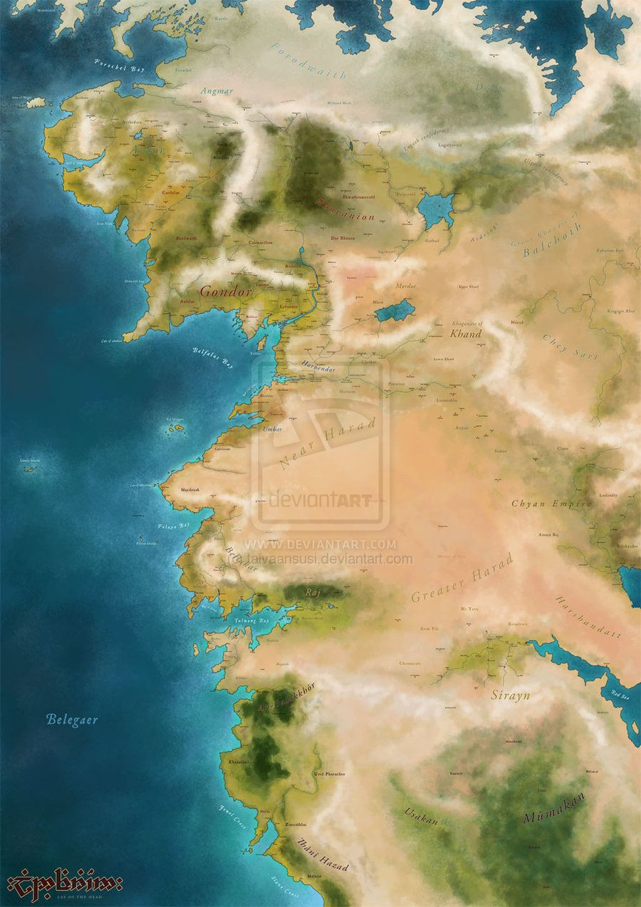 Western middle earth by taivaansusiiantart on deviantart original is printable size pixels wall mounted poster so texts are not legible here expanded map of western middle earth gumiabroncs