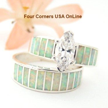 Size 9 White Fire Opal Bridal Wedding Engagement Ring Set Native American Indian Jewelry WS 1426