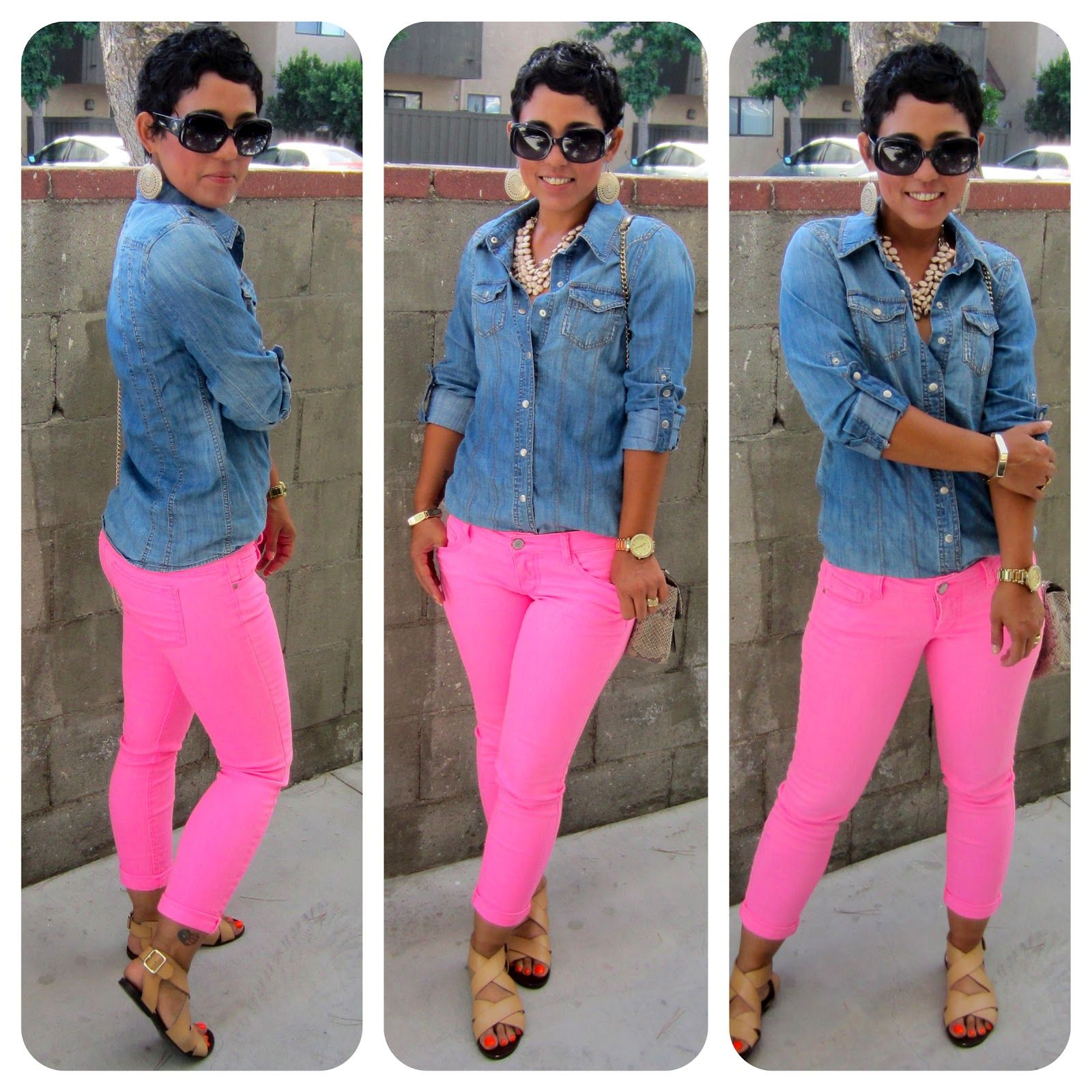 love these bright pink jeans with the essential denim shirt ...