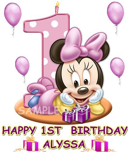 Baby Minnie Mouse 1st Birthday Edible Cake Topper Decorations Image Pins