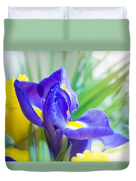 Spring Iris Duvet Cover by Yana Reint  #YanaReint #YanaReintFineArtPhotography #FineArt #pillow #duvetcover #homedecor #ArtForHome #Iris #flowers