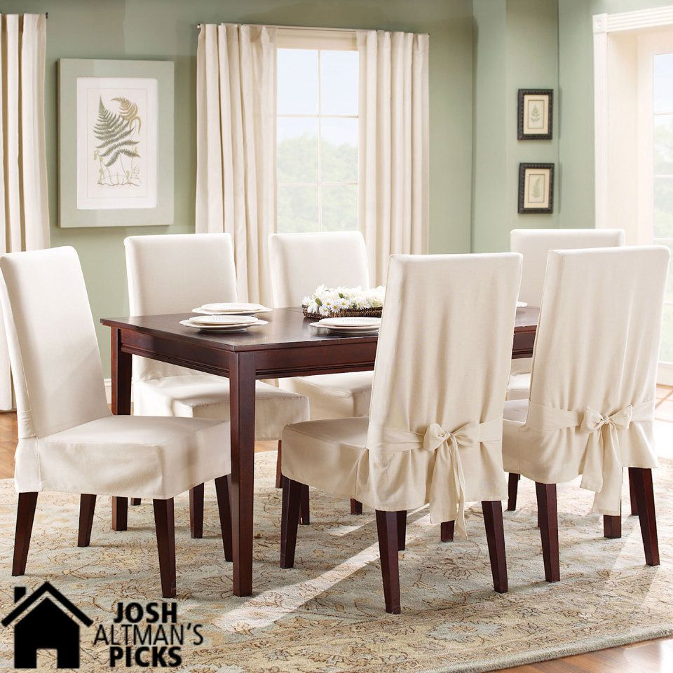 Cotton Duck Short Dining Room Chair Slipcover In Natural