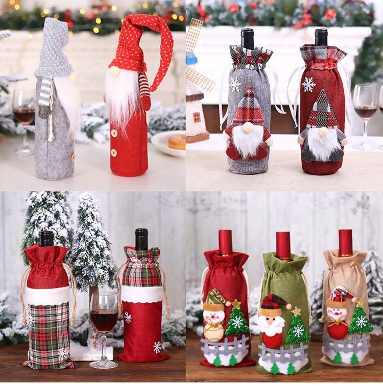 Christmas Present Gift Bottle Christmas Bottle Cover Santa Claus