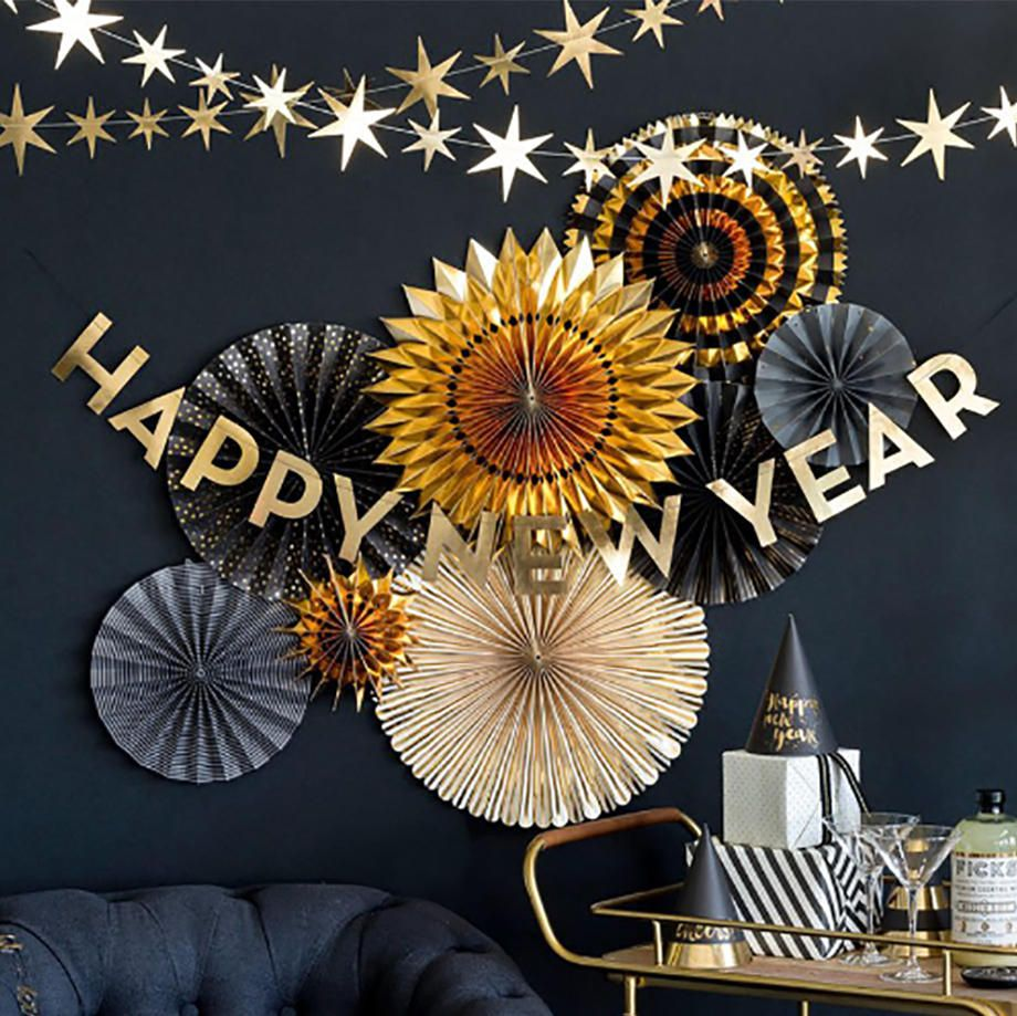 Happy New Year Banner Gold New Years Eve Party
