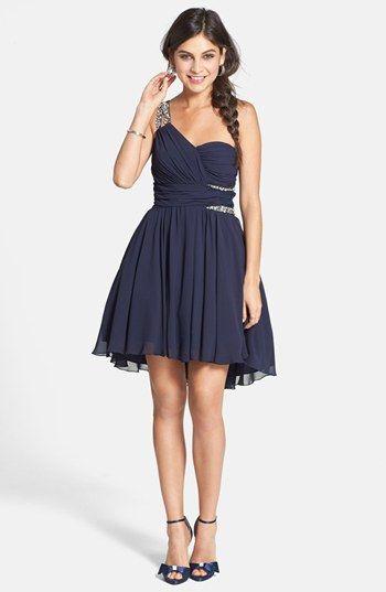 one shoulder semi formal dresses junior