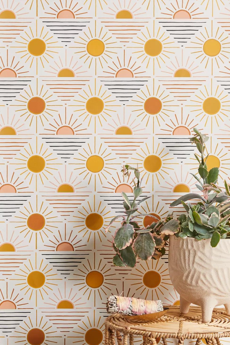 Geo Sun Removable Wallpaper Stick On Wallpaper Removable Wallpaper Cheap Home Decor