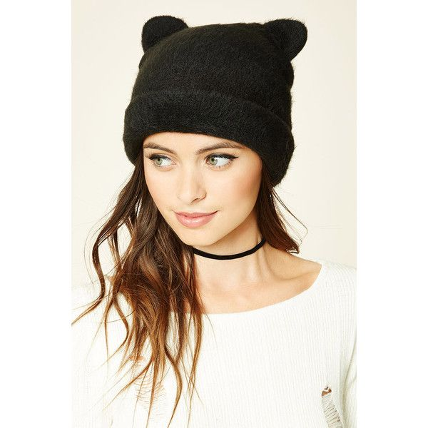 Forever21 Faux Fur Cat Ear Beanie (£6.46) ❤ liked on Polyvore featuring  accessories 982171aa72f6