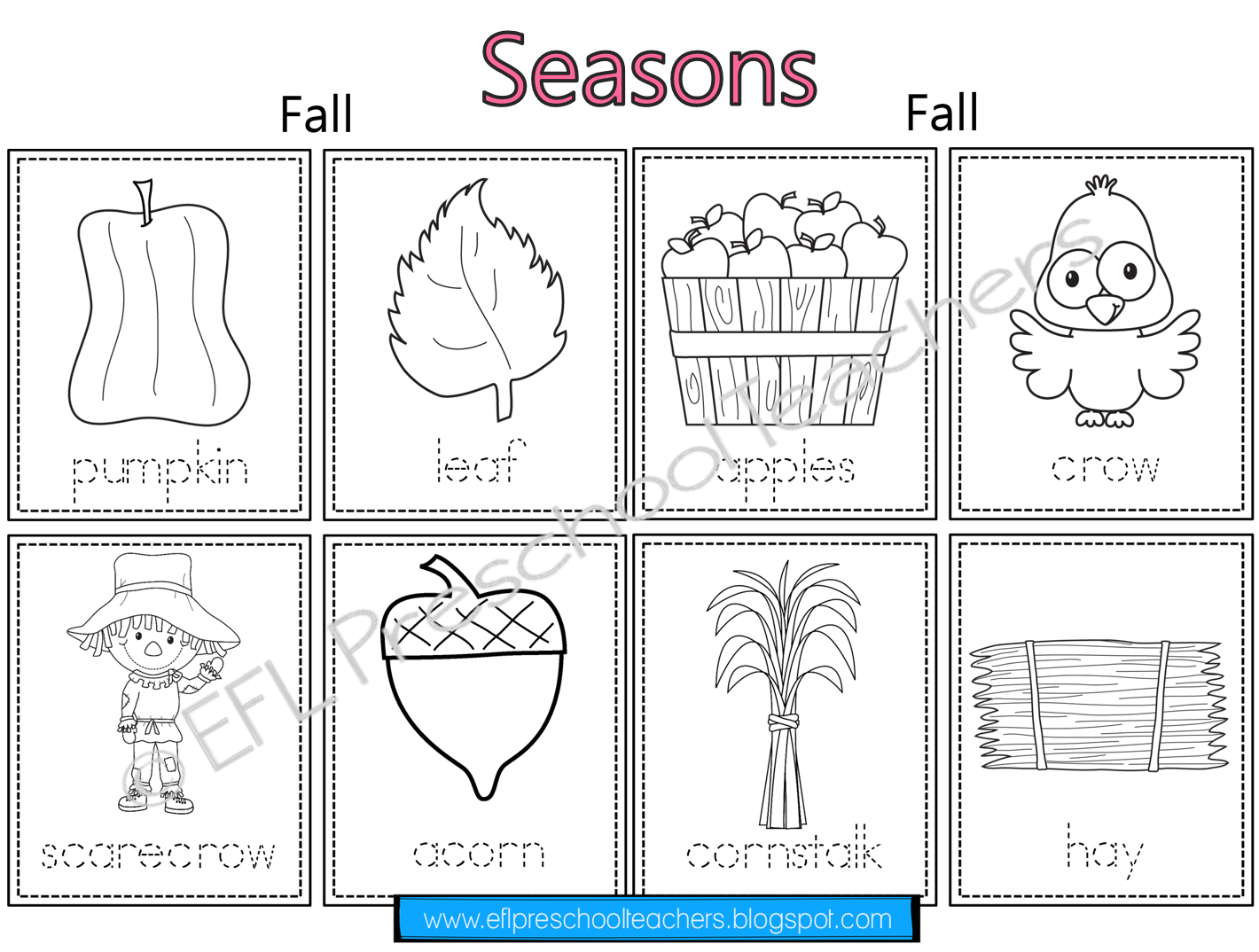 Seasons Unit Worksheets For Preschool Esl