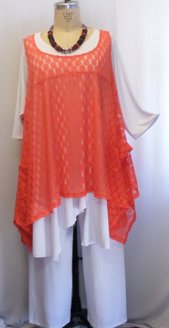 85806fc726d Coco and Juan Plus Size Top Lagenlook Layering Tunic Top Tangerine Lace  Size 2 Fits 3X,4X Bust to 60 inches