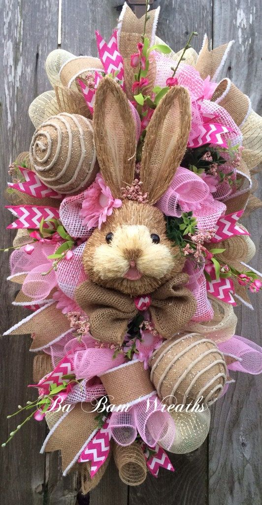 Bunny Wreath Easter Swag Spring Wreath Rustic by