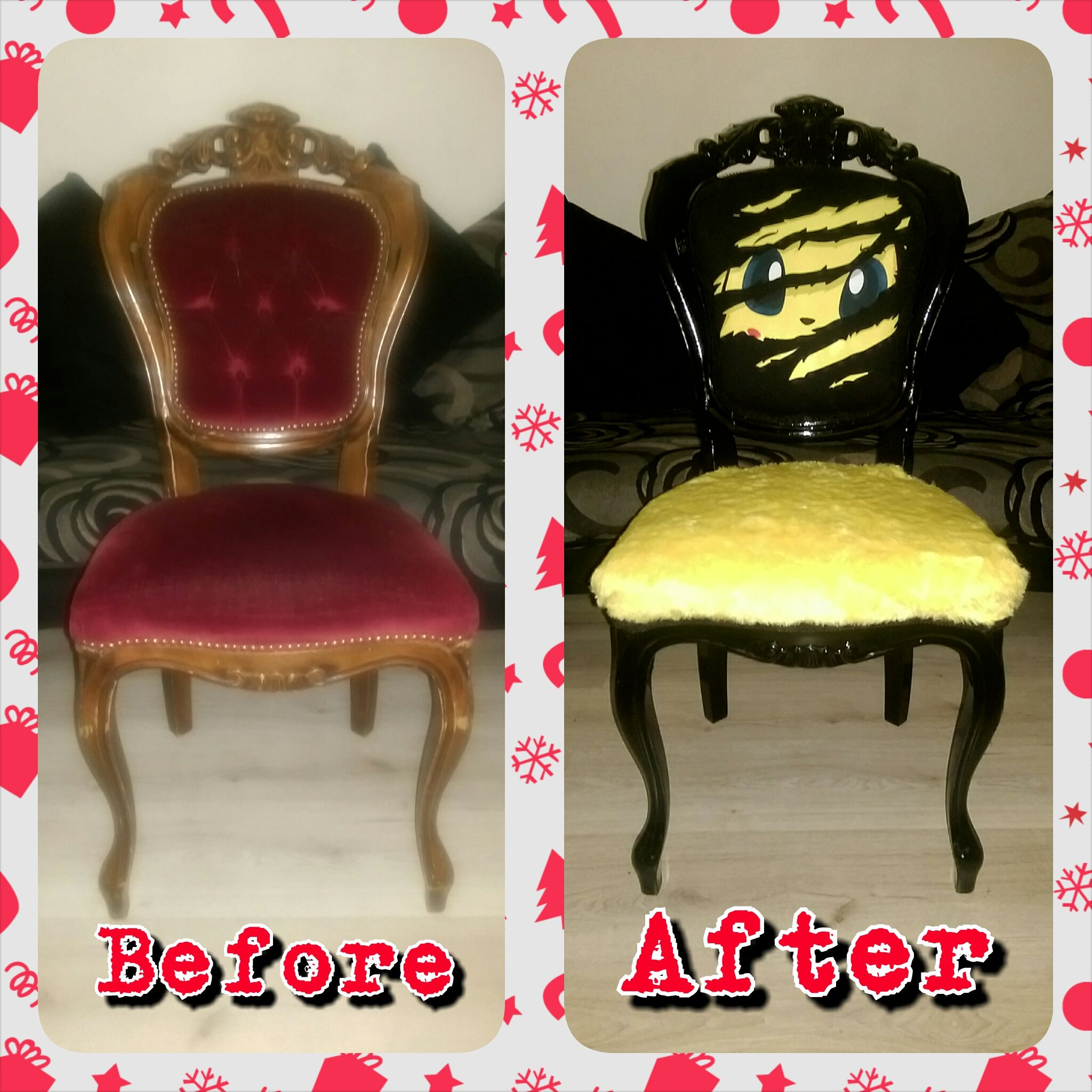 Upcycled Before And After French Louis Pokemon Pikachu Chair  # Muebles Pokemon