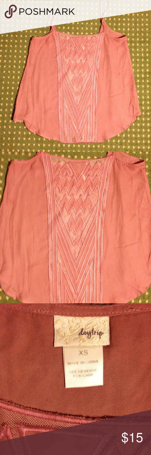 (New) Women's Daytrip by Buckle Tank (New). Never got a chance to wear. Size: XS. Hand wash. 100% polyester. Color: hard to describe...please see pic with tag. Shows a better accurate depiction of color. Ready to ship! Smoke & pet free. Daytrip Tops Tank Tops