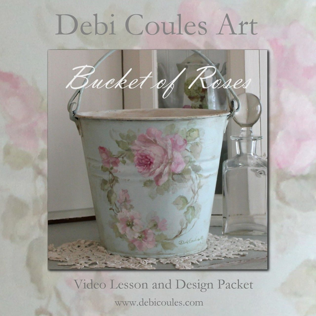 Photo of Bucket of Roses Instructional DVD and Printed Packet by Debi Coules