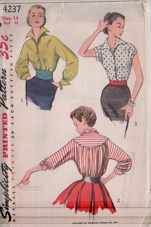 MOMSPatterns Vintage Sewing Patterns - Simplicity 4237 Vintage 50's Sewing Pattern VAMPY Lucy Wing Collar Kimono Sleeve Blouse Set, Round Back Yoke, French Cuffs, Cummerbund Sash Belt