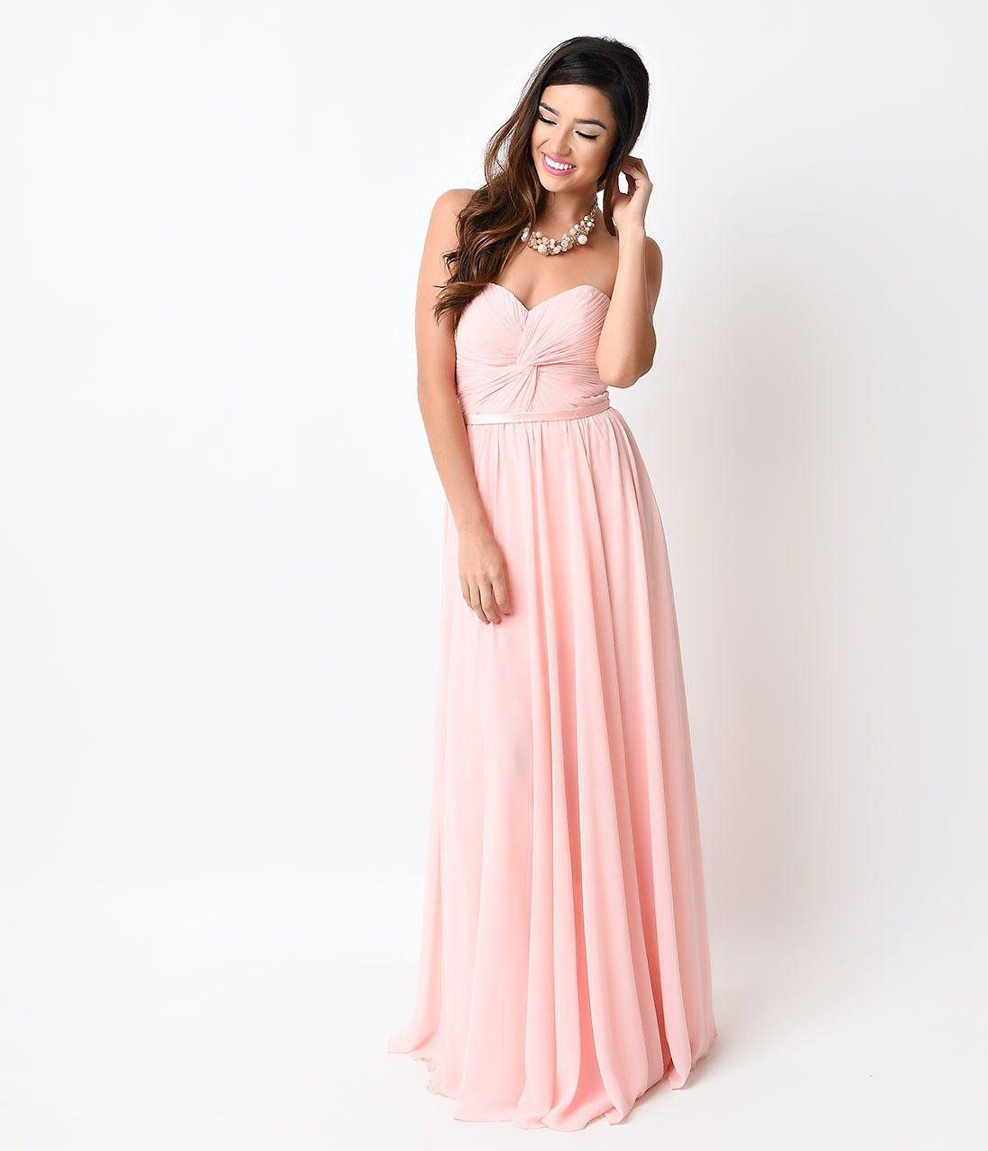 Blush Pink Chiffon Strapless Sweetheart Corset Long Gown