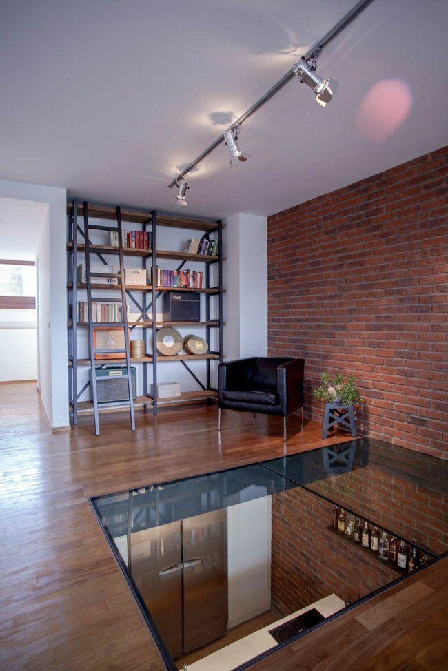 Loft Wohnung Glas Boden Ziegelwand Wandregal | Ideen rund ums Haus ...