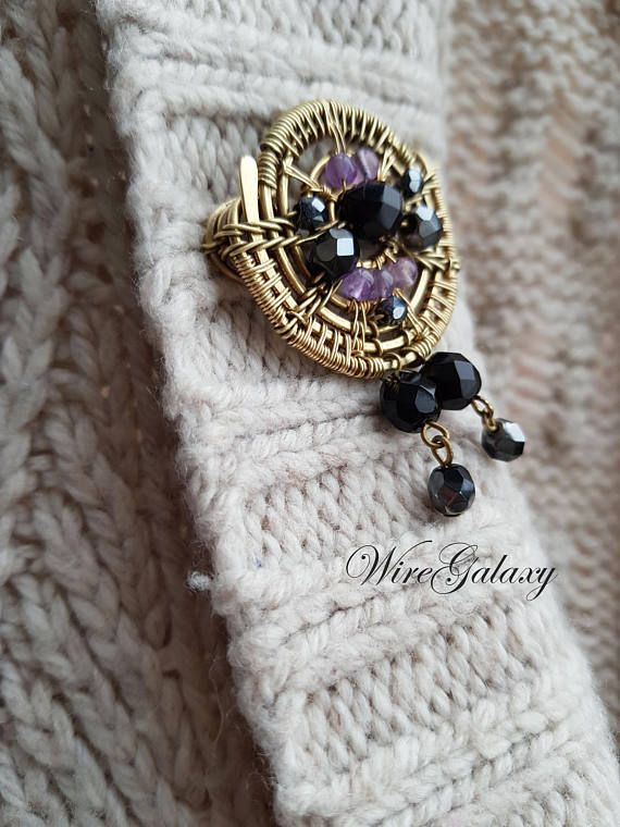 Round Brass Brooch Wire Wrap Brooch Vintage style Charm Brooch Black and Violet Statement Gift Women Shawl Pin Brass jewelry Brooch are made of brass with black glass beads and amethyst. This brooch will perfectly complement your look and cheer up :) Amethyst symbolizes sincerity in