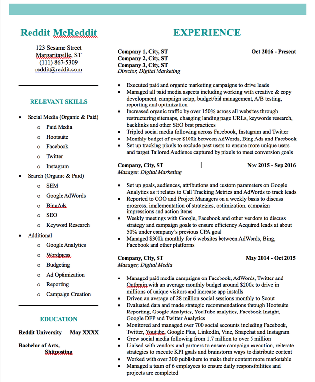 Digital Marketing Resume. Am I doing too much with the
