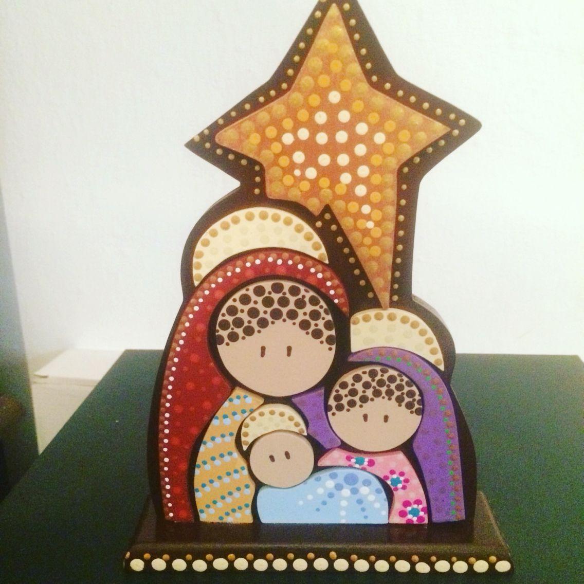Nacimiento puntillismo pinterest manualidades for Manualidades souvenirs navidenos
