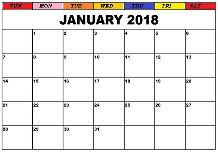 January 2018 Printable Calendar MaxCalendars Pinterest - sample activity calendar template