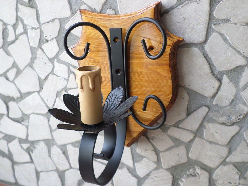 Applique lampada da parete rustico in ferro battuto e legno teak