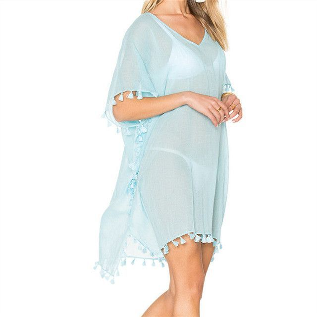 7968754feb466 Beach Dress Sexy Cover-Up Chiffon Bikini Kaftan Pareo Sarongs Swimwear  Tunic Swimsuit Bathing Suit Cover Ups Robe De Plage  Q214